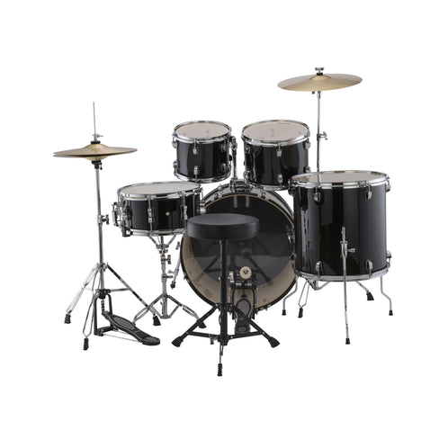 Ludwig LC17011DIR Accent Fuse 5-Piece Drums Set w/Hardware+Throne+Cymbal, Black Cortex