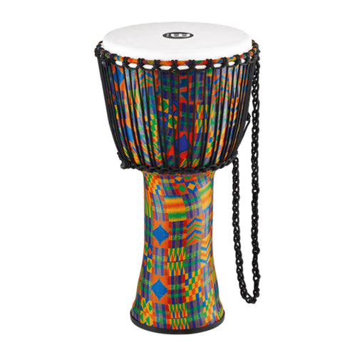 MEINL Percussion PADJ2-L-F 12inch Rope Tuned Travel Series Djembe, Synthetic Head, Kenyan Quilt