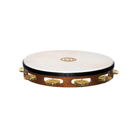 MEINL Percussion TAH1B-AB Traditional Goat-Skin Wood Tambourine, Brass Jingles, African Brown