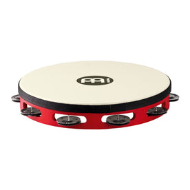 MEINL Percussion TAH1BK-R-TF Touring Synthetic Head Wood Tambourine, 1 Row, Red