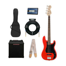 Squier Affinity Precision PJ Bass Guitar Starter Bundle, Race Car Red