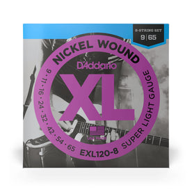 D'Addario EXL120-8 Nickel Wound Electric Guitar Strings, 8-String, Super Light, 9-65