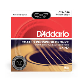 D'Addario EXP17 Coated Phosphor Bronze Acoustic Guitar Strings, Medium, 13-56