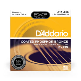 D'Addario EXP19 Coated Phosphor Bronze Bluegrass Acoustic Guitar Strings, 12-56