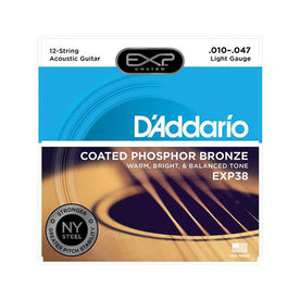 D'Addario EXP38 Coated Phosphor Bronze Acoustic Guitar Strings, 12-String, Light, 10-47