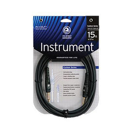 D'Addario PW-G-15 Custom Series Mono 1/4 Inch Instrument Cable, 15 feet
