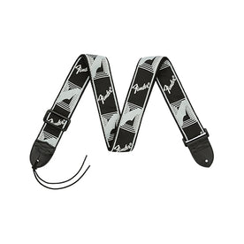 Fender 2 Inch Monogrammed Strap, Black/Light Grey/Dark Grey