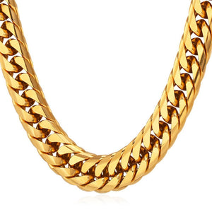 13mm Yellow Gold Cuban Link (Curb Classic) Chain Necklace