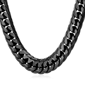 13mm Black Cuban Link (Curb Classic) Chain Necklace