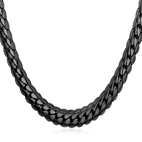 6mm Black Cuban Link (Curb Heavy) Chain Necklace