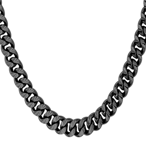 6mm Black Cuban Link (Curb Economy) Chain Necklace
