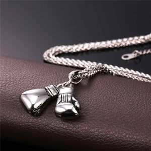 Stainless Steel Boxing Gloves Pendant Wheat Chain Necklace