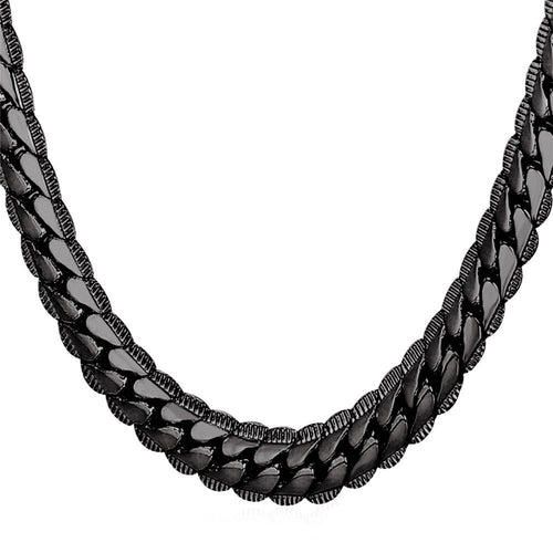 9mm Black Cuban Link (Curb Heavy) Chain Necklace