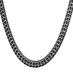 9mm Black Cuban Link (Curb Classic) Chain Necklace