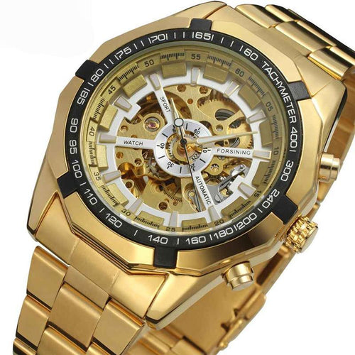 Luxury Yellow Gold Skeleton Watch Self Winding Mechanical Movement
