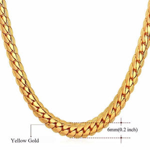 6mm Yellow Gold Cuban Link (Curb Heavy) Chain Necklace