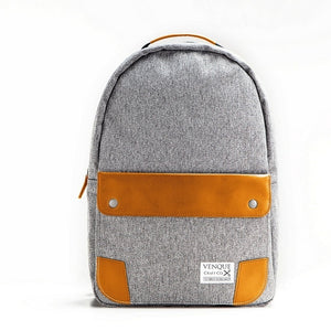 Two-Toned Leather Classic Grey Backpack