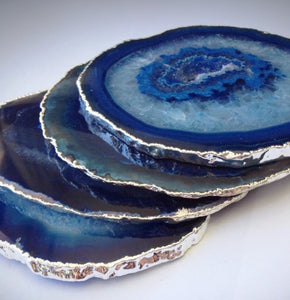 Agate Drink Coasters with Plated Edges