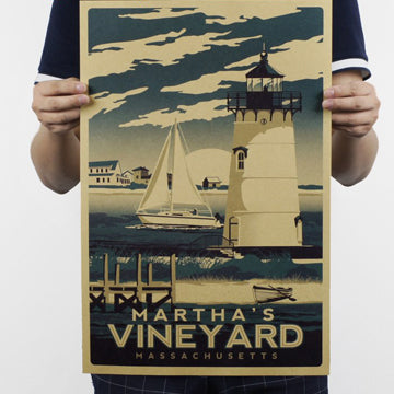 Vintage Retro Martha's Vineyard Wall Poster
