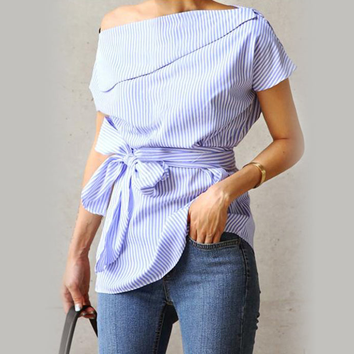 Samantha Sue Bowtie Baby Blue Stripped Summer Blouse