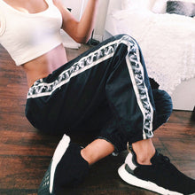 Black Jogging Pants with Camouflage Stripe and Ankle Bands