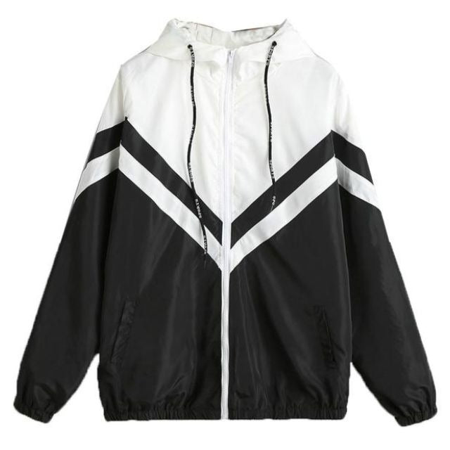Hooded Two Tone Windbreaker (Striped)