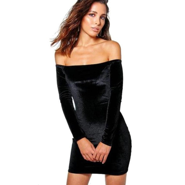Black Velvet Long Sleeve Body Dress