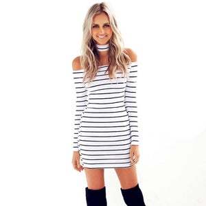 Jackson Sexy Strapless Striped Halter Long Sleeve Mini Dress