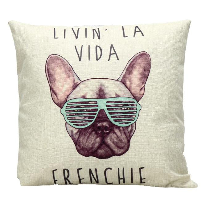 Livin' La Vida Frenchie Throw Pillow Cover 45x45