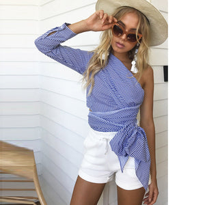 Sunshine Off The Shoulder Knitted Striped Blouse