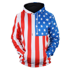 USA Thin Flag Hooded Sweatshirt