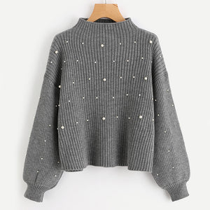 Pearl Beaded Gray Sweater