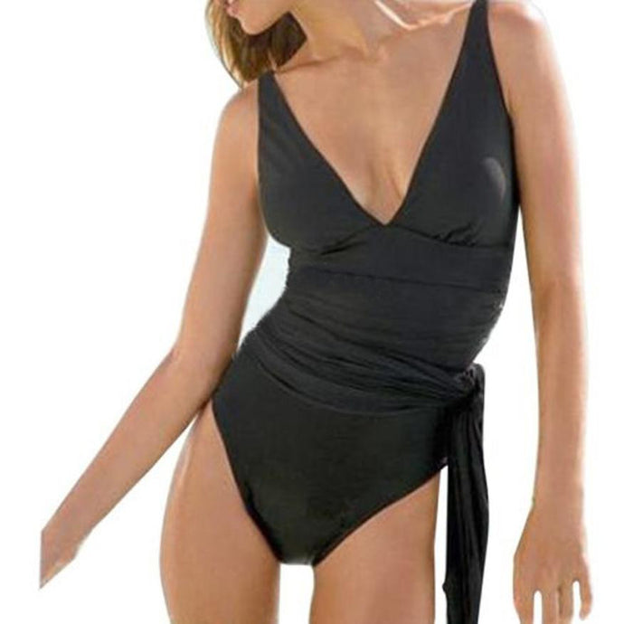 JJ Rushed Black Swim Dress
