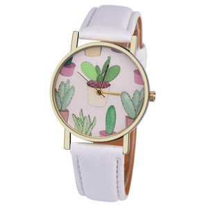Cactus Leather Band Analog Quartz Wrist Watch