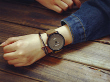 Unisex Steel & Faux Leather Watch