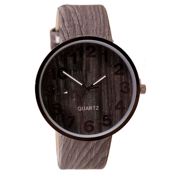 Wood Grain Leather Men's Watch
