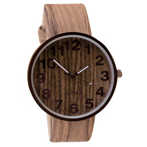 Wood Grain Leather Quartz Men's Watch