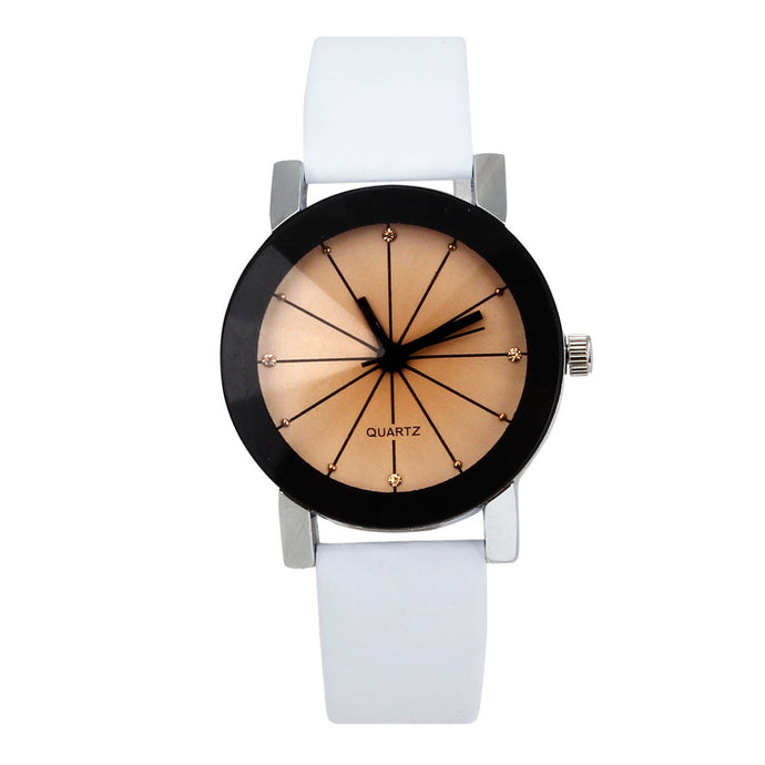 WoMen Quartz Dial Clock Leather Wrist Watch Round Case