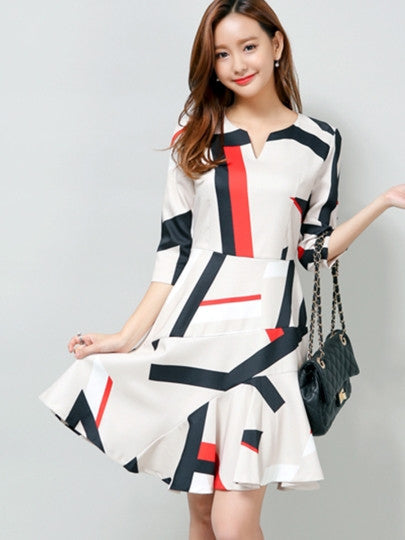 Geometric Print Three-Quarter Sleeve Women's Day Dress