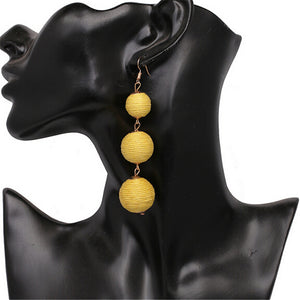 Threaded Three Ball Drop Fashion Earrings