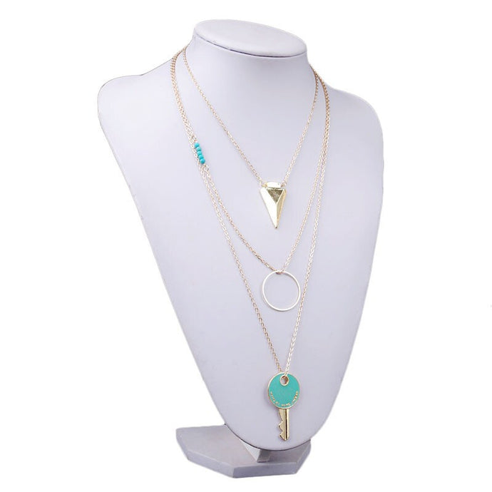 Women's Pierced Multilayer Key Pendant Chain Statement Necklace