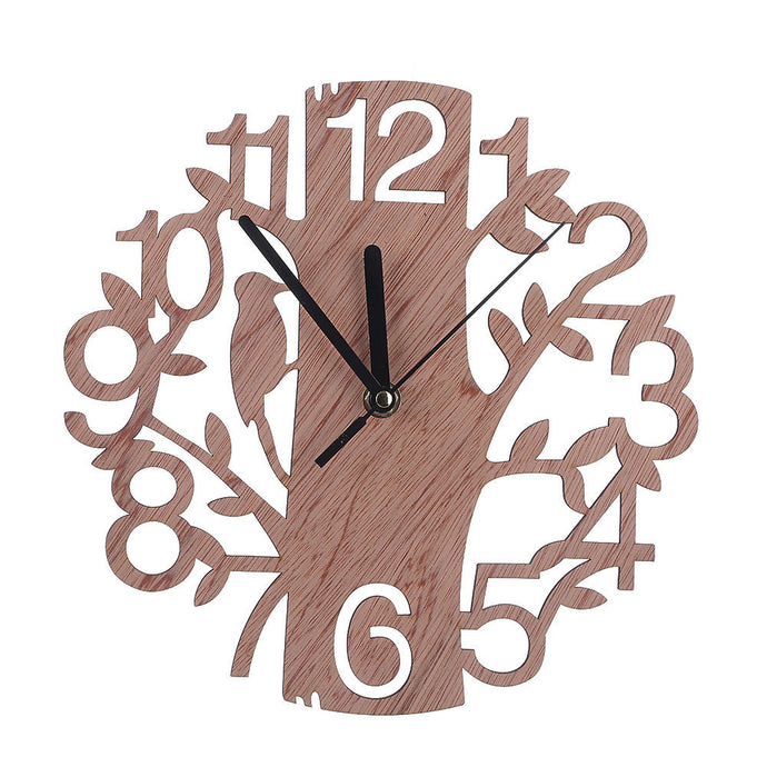 Vintage Style Non-Ticking Silent Antique Wood Wall Clock for Home Kitchen Office