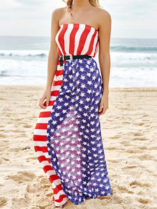 Women's Chiffon American Flag Maxi Dress