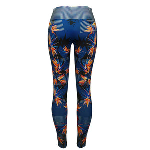 High Waisted Floral Blue and Pink Leggings