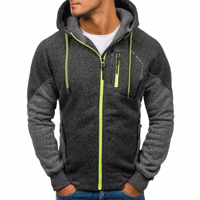 Men's Color-blocked Outerwear Active Hoodie