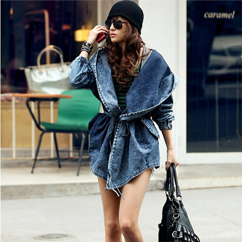 retro style long sleeve denim trench with hoodie mummsywitch