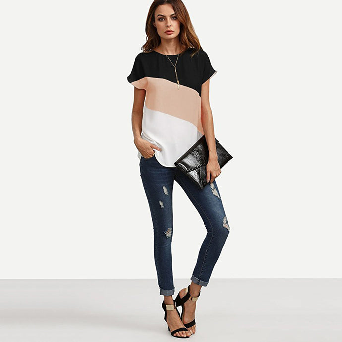 Vivian Color Block Chiffon Blouse
