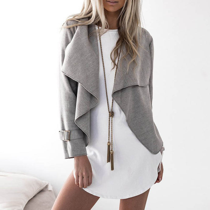 Open Front Wide Collar Cardigan