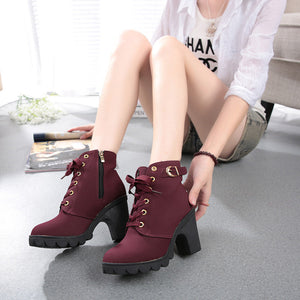 All Laced Up Ankle High Fashion Boots - Maroon