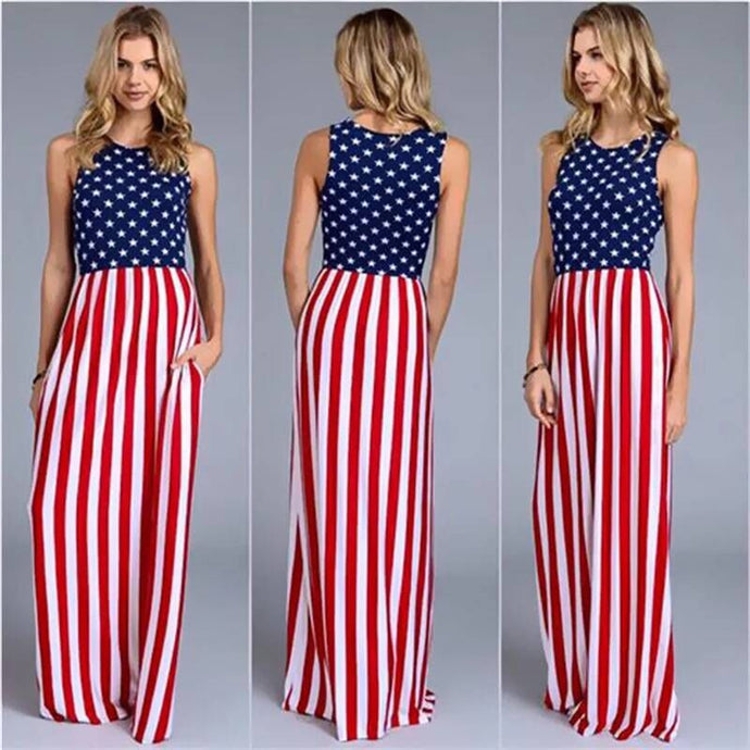 Women's USA American Flag Maxi Dress